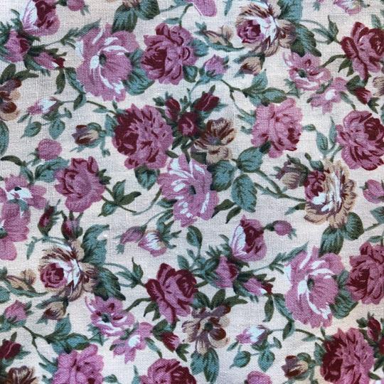Bomullstyg rosor rosa/beige