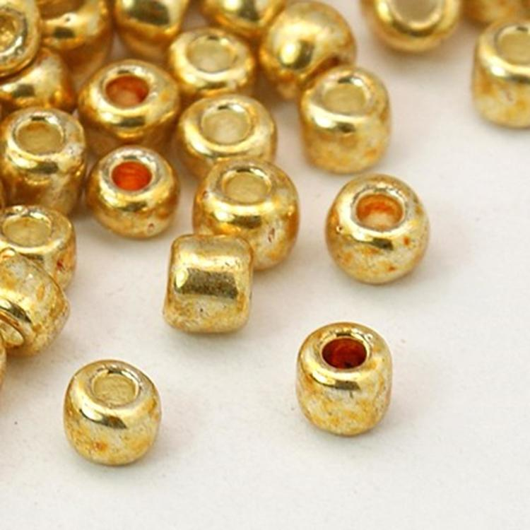 Seedbead 4 mm guld metallic