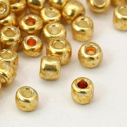 Seedbead 4 mm guld metallic