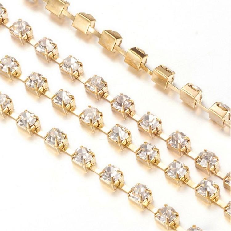 Strasskedja guld kristall