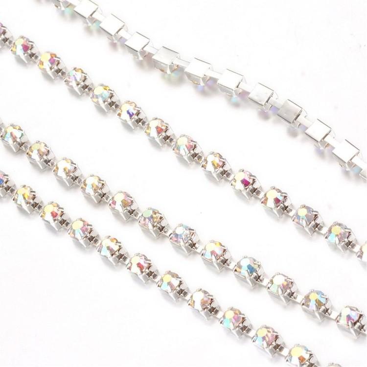 Strasskedja silver kristall AB