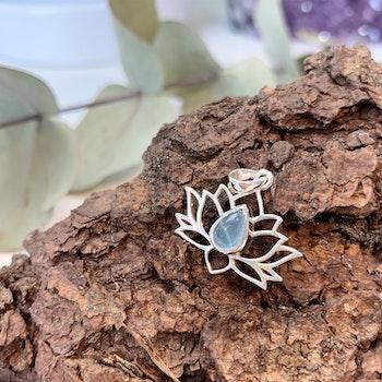 Lotushänge i sterling silver och Akvamarin