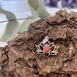 Lotushänge i sterling silver och Rodokrosit