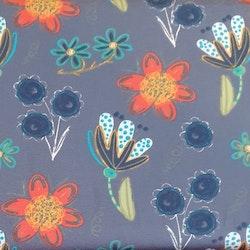 Blommor på blå botten