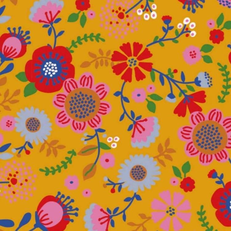 Blommor på gul botten