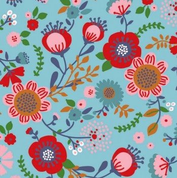 Blommor på ljusblå botten