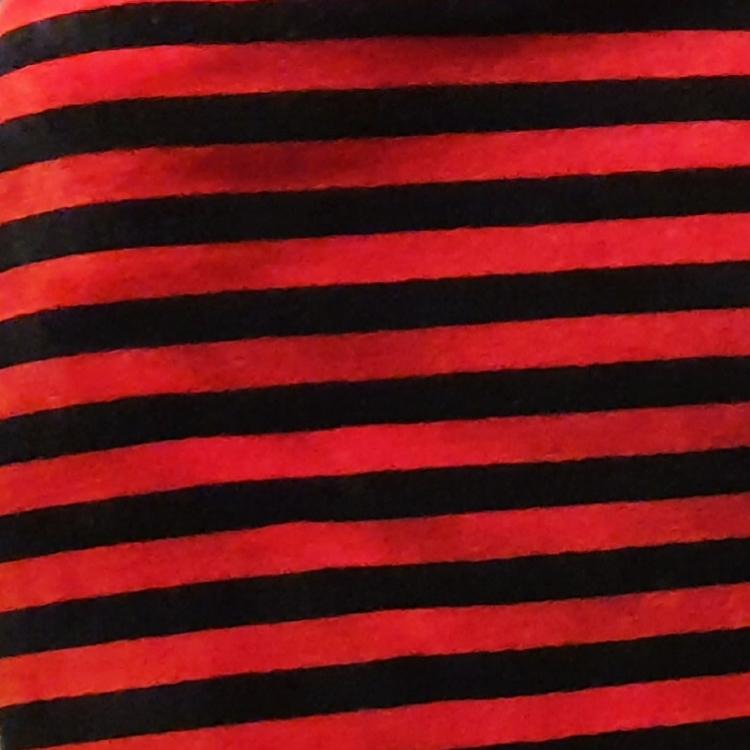 Velour rödsvart rand