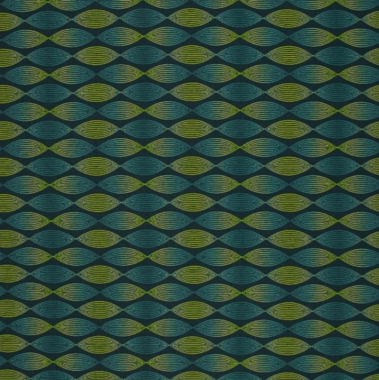 French Terry blågrön mönster