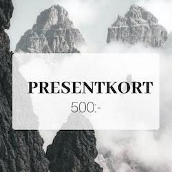 Presentkort 500 SEK (Skickas digitalt på mail)
