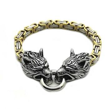 Pakke Golden Wolf Halskæde og Golden Wolf Armbånd