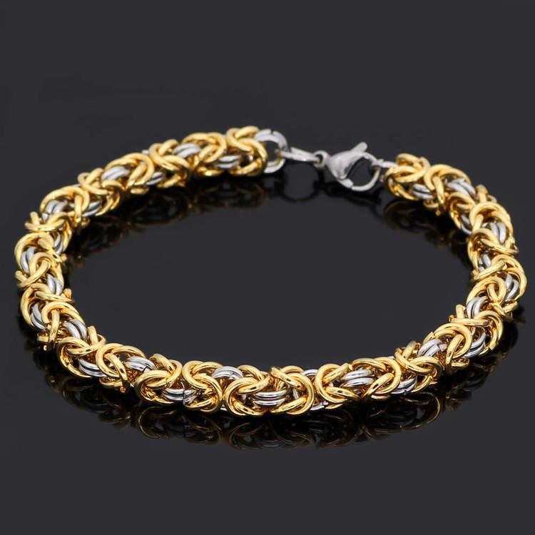 Paket Golden Kungslänk Halsband och Armband