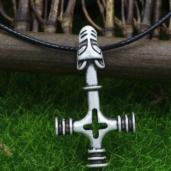 Halskæde Wolf Cross læder