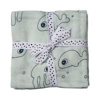 Burp cloth, 2-pack Sea Friends Blue