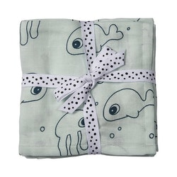 Burp cloth, 2-pack Sea Friends Blue