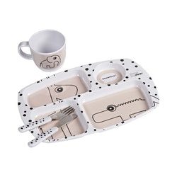Toddler dinner set Happy dots Powder