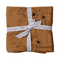 Burp cloth, 2-pack Sea Friends Mustard