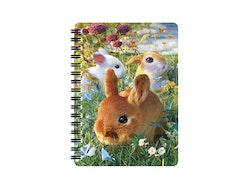 Skrivbok liten 3D Kaniner