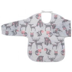 Haklapp med ärm/förkläde Skogsdjur, grå/rosa