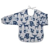 Haklapp med ärm/förkläde Skogsdjur, blå