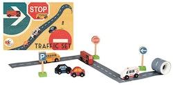 Trafik, vägtejp med bilar