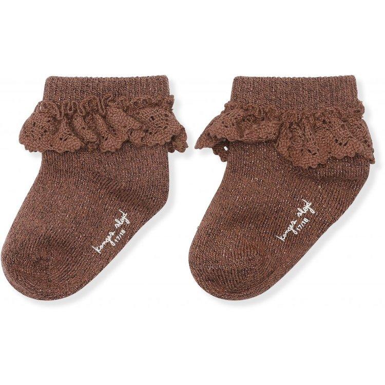 Kongesslöjd - Lace socks lurex (mocca)