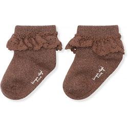 Konges Slöjd - Lace socks lurex (Mocca)