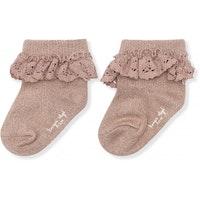 Konges Slöjd - Lace socks lurex (Rose blush)