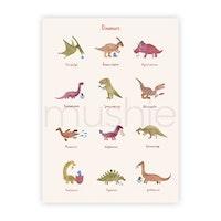 Mushie Affisch dinosaurier (stor)