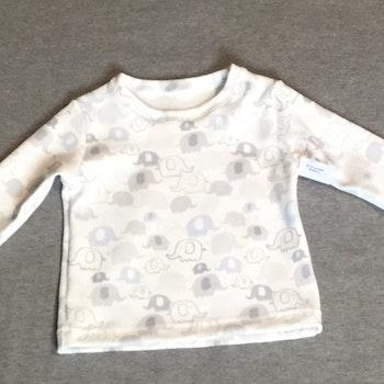 801 T-shirt Lång ärm Elefanter på vit botten