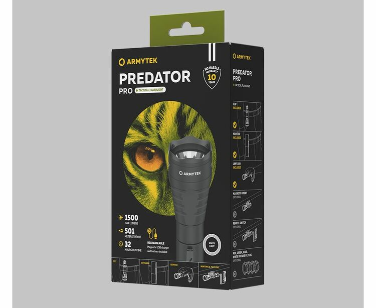 Armytek Predator Pro, Magnet Laddning - 1500 Lumen