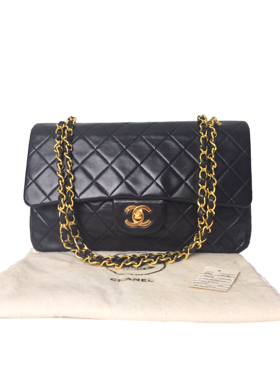 b98fa595d09b CHANEL Black Quilted Lambskin Classic Medium Double Flap Bag ...