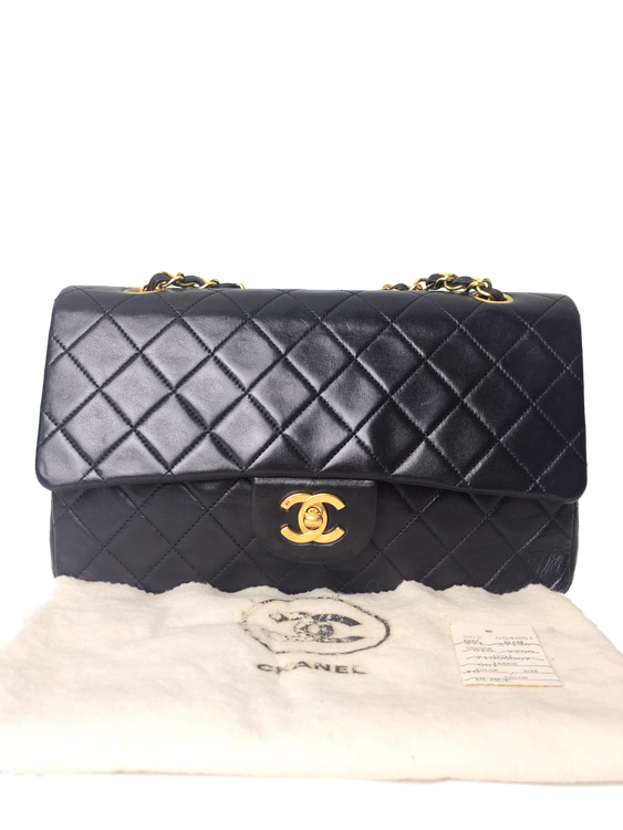 c2935b48b003 CHANEL Black Quilted Lambskin Classic Medium Double Flap Bag ...