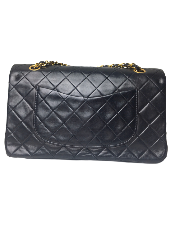 8467a636c3b2 CHANEL Black Quilted Lambskin Classic Medium Double Flap Bag ...