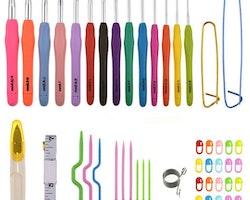 Liten väska med virknålar, stickmarkörer, flätstickor och mycket annat. MODELL A