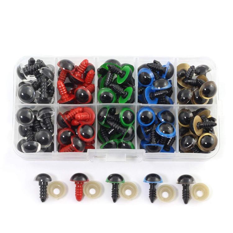 Säkerhetsögon 100 st. Sortimentsask med 5 olika färger. Perfekt till amigurumi figurer m.m.