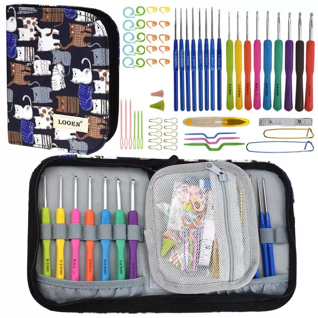 Liten väska med virknålar, stickmarkörer, flätstickor och mycket annat. MODELL B
