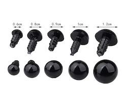 Säkerhetsögon i 5 olika storlekar. Svarta. 100 st. Perfekt till amigurumi figurer m.m.