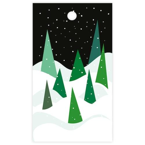 Litet kort - granar i snö
