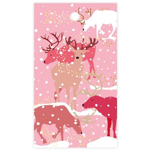 Litet kort - rosa renar