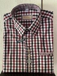 Röd- och svartrutig herrskjorta med fina broderier