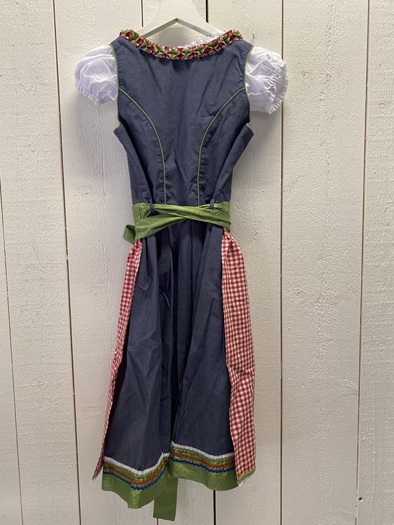 Jeansblå klänning till Oktoberfesten