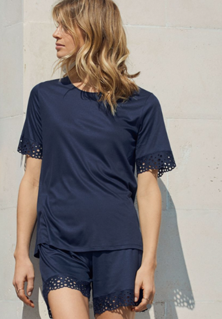 Calida - t-shirt blå spets