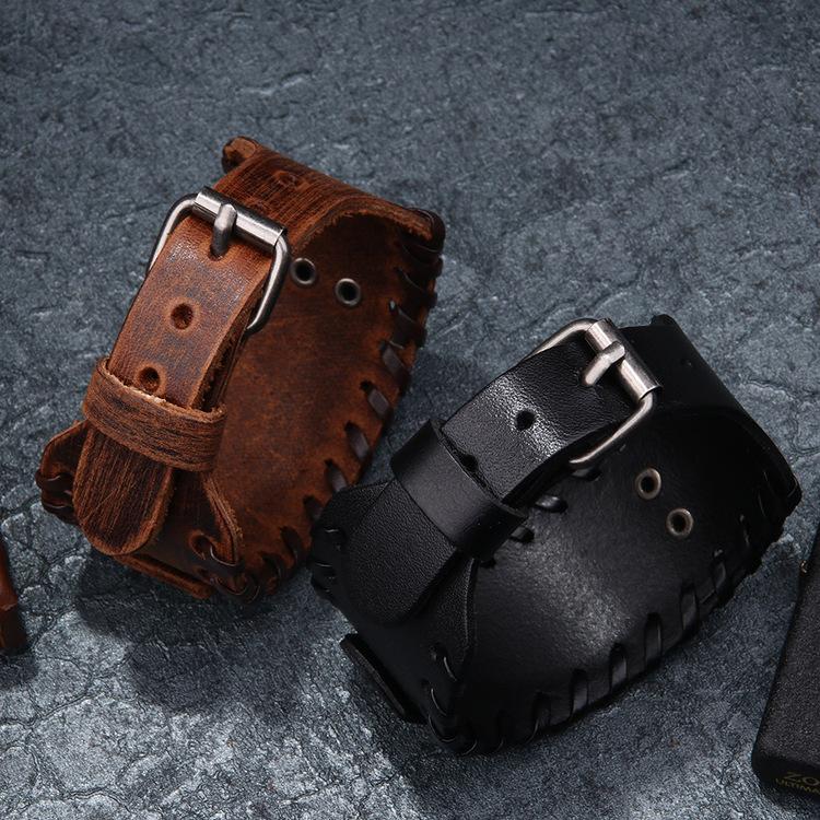 Läderarmband Viking 5 Brunt / Koppar