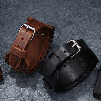 Läderarmband Viking 6 Svart / Silver 27,5 x 4 cm