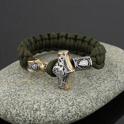 Armband Flerfärgat. Thors Hammer Silver / Guldfärg