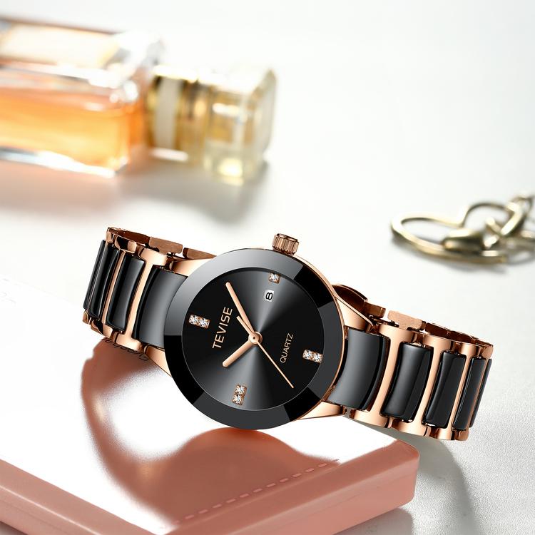 Damklocka Tevise Dimond  Black / Rose. Stainless Steel/Ceramik. Rose /Black. Japan Quartz