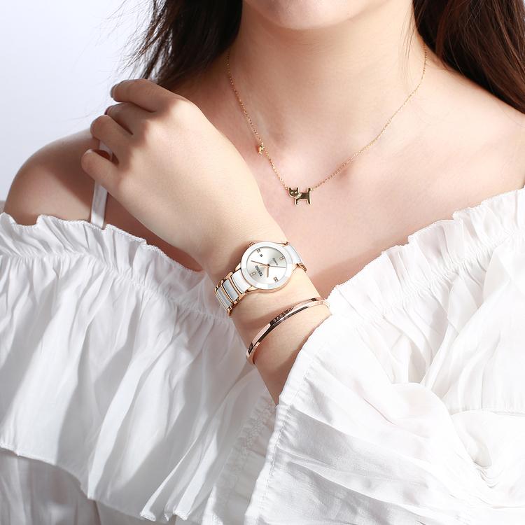 Damklocka Tevise Dimond. White / Gold. Stainless Steel / Ceramik. Gold / White. Japan Quartz