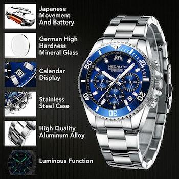 Herrklocka Megalith Chronograph De Lux. Steel / Blue.Quartz Japan