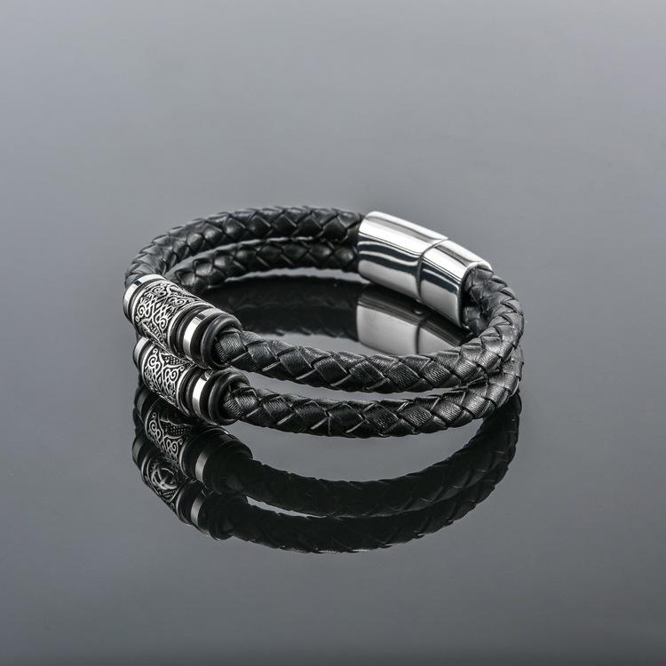 Armband Valknut Läder Svart ( Pu) Dubbelt. 21 cm