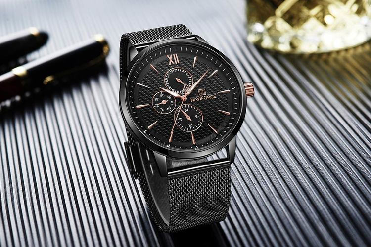Herrklocka NaviForce Elegance.  Black / Black. Mesh Black. Quartz Japan